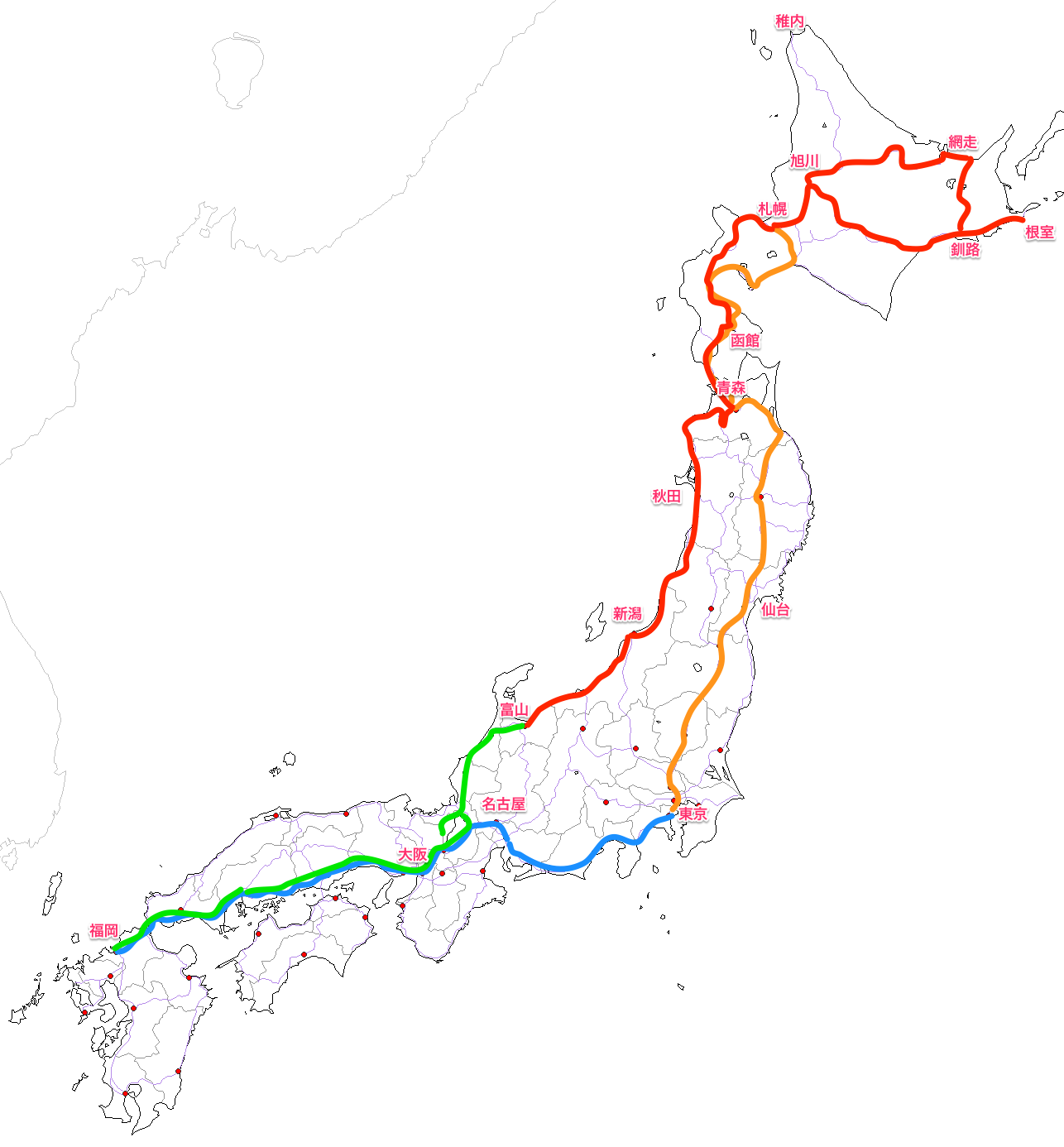 日本一周鉄道旅行ルート