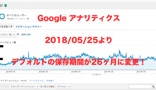 Googleアナリティクス デフォルトのデータ保持期間が26ヶ月に変更!保持期限を「自動的に期限切れにならない」に変更してデータを保持しよう!
